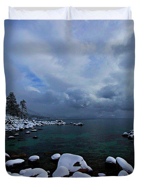 Lake Tahoe Snow Day Duvet Cover