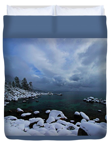 Lake Tahoe Snow Day Duvet Cover
