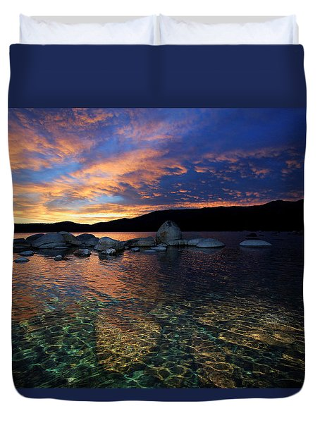 Lake Tahoe Sundown Duvet Cover