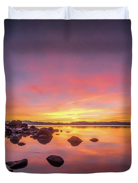 Lake Tahoe Sunset Peace Duvet Cover