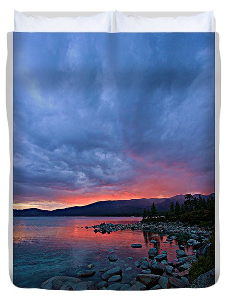 Lake Tahoe Sunset Portrait 2 Duvet Cover by Sean Sarsfield