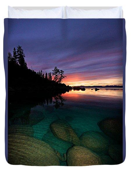 Lake Tahoe Sunset Portrait Duvet Cover