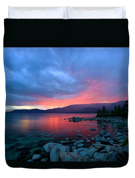 Lake Tahoe Sunset Duvet Cover by Sean Sarsfield