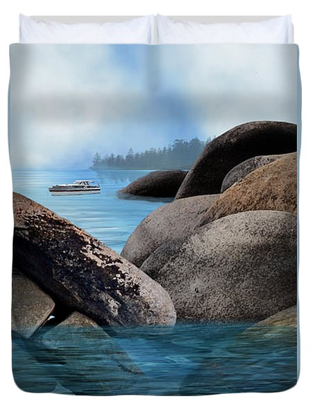 Lake Tahoe With Wooden Boat Duvet Cover by Julie Rodriguez Jones