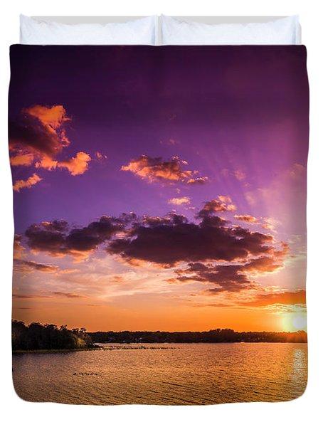 Lake Tarpon Sunset Duvet Cover