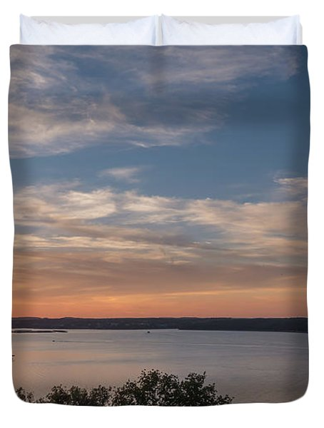 Lake Travis During Sunset With Clouds In The Sky Duvet Cover