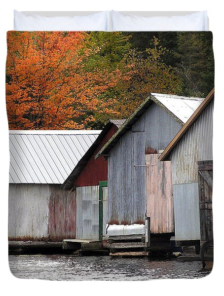 Lake Vermillion Boathouses Duvet Cover