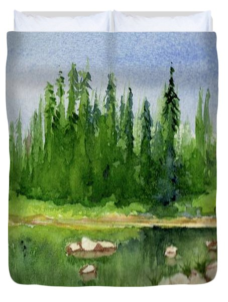 Duvet Cover featuring the painting Lake View 1-2 by Yoshiko Mishina