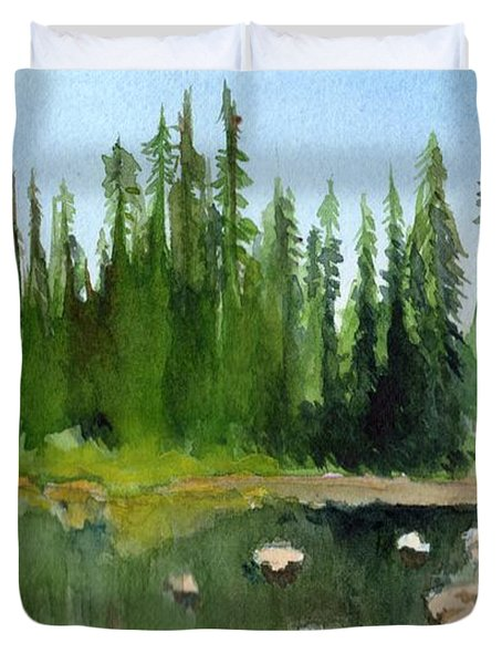 Duvet Cover featuring the painting Lake View 1 by Yoshiko Mishina