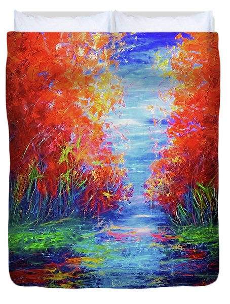 Olena Art Lake View Abstract Artwork Duvet Cover