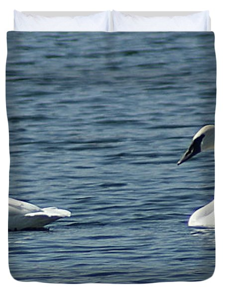 Duvet Cover featuring the photograph Lake Visiters by Rick Friedle