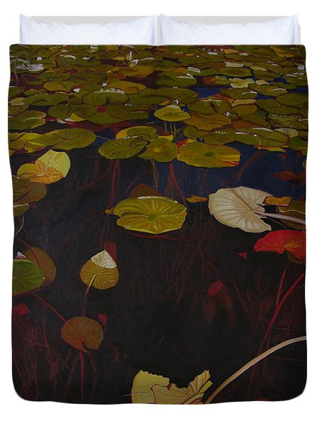 Duvet Cover featuring the painting Lake Washington Lilypad 7 by Thu Nguyen