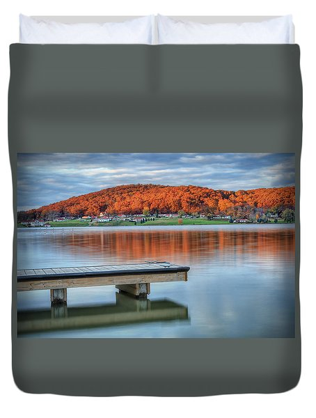 Duvet Cover featuring the photograph Autumn Red At Lake White by Jaki Miller