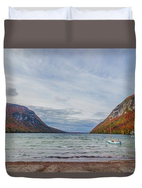 Lake Willoughby Blustery Fall Day Duvet Cover