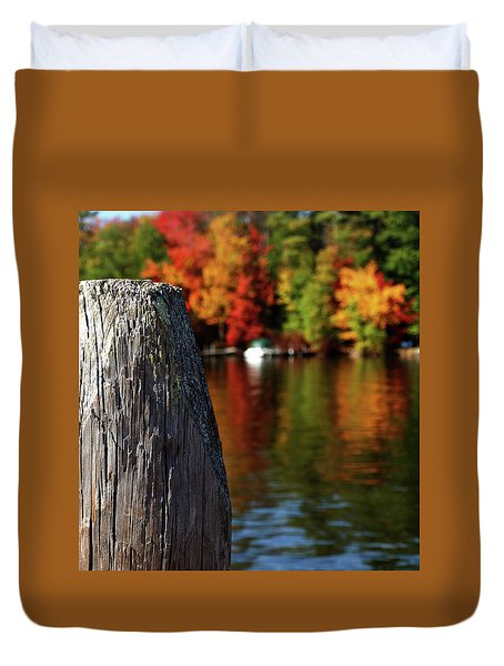 Lake Winnepesaukee Dock With Foliage In The Distance Duvet Cover