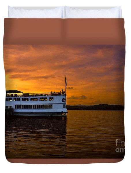 Duvet Cover featuring the photograph Lake Winnipesaukee At The Weirs by Mim White