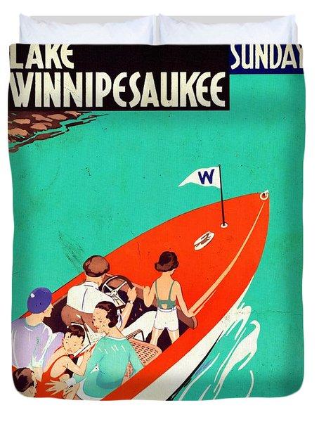 Lake Winnipesaukee - Vintagelized Duvet Cover