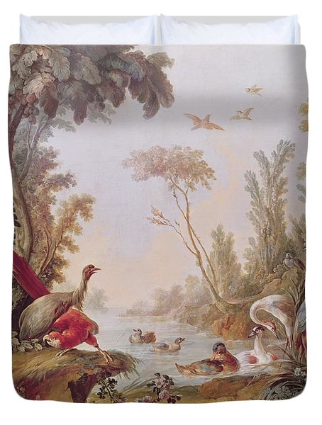 Lake With Geese Storks Parrots And Herons Duvet Cover