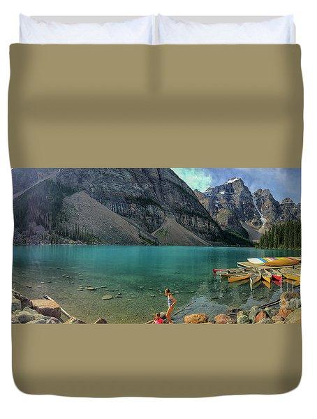 Lake With Kayaks Duvet Cover