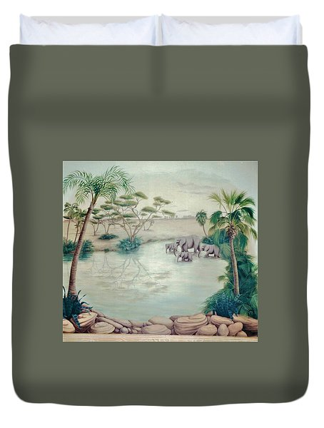 Lake With Oasis And Palm Trees Duvet Cover