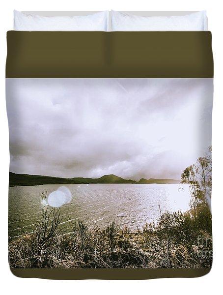 Lakes In Sunset Duvet Cover