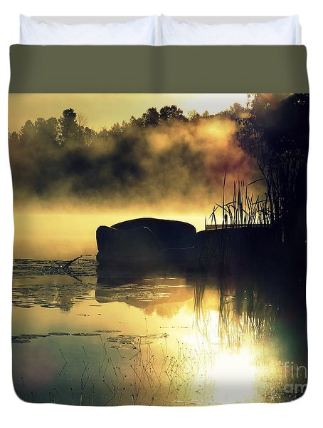 Duvet Cover featuring the photograph Lakeshore by France Laliberte