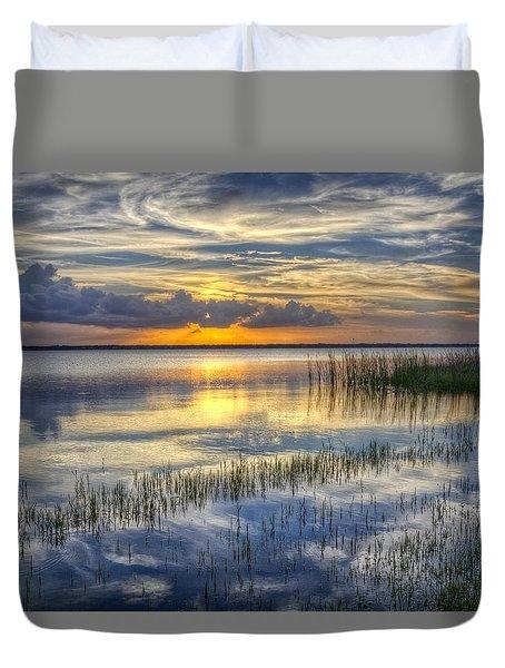 Lakeside At Sunset Duvet Cover