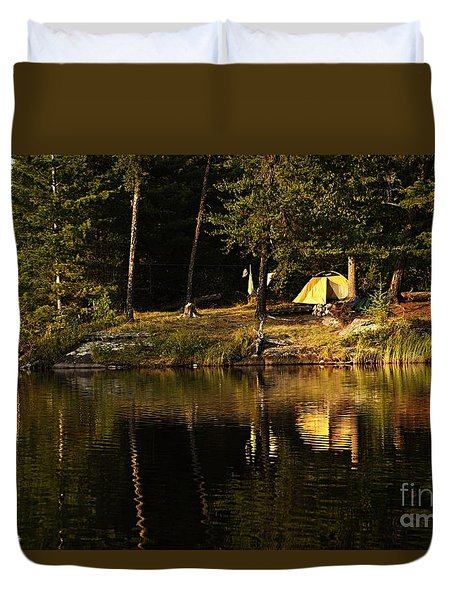 Duvet Cover featuring the photograph Lakeside Campsite by Larry Ricker