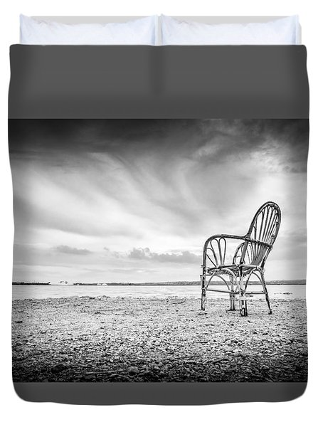 Duvet Cover featuring the photograph Lakeside Chair. by Gary Gillette