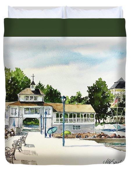 Lakeside Dock And Pavilion Duvet Cover