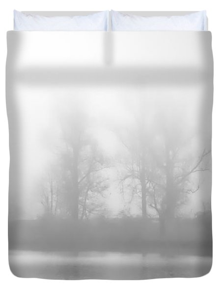 Duvet Cover featuring the photograph Lakeside Giants In Fog by Greg Jackson
