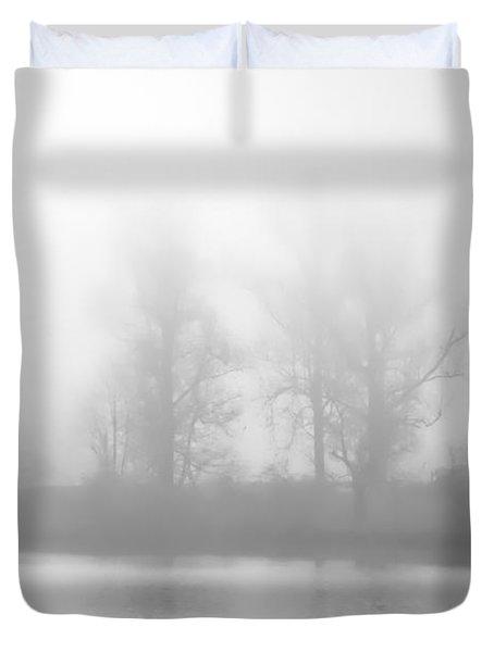 Lakeside Giants In Fog Duvet Cover by Greg Jackson