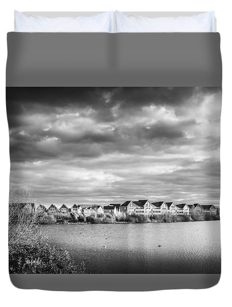 Duvet Cover featuring the photograph Lakeside Houses by Gary Gillette