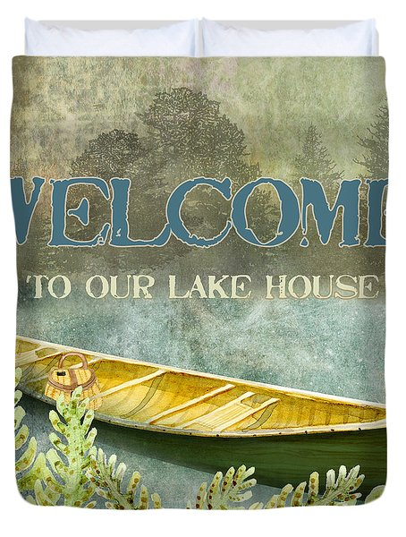 Lakeside Lodge - Welcome Sign Duvet Cover