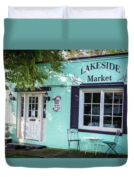 Duvet Cover featuring the photograph Lakeside Market by Doug Camara