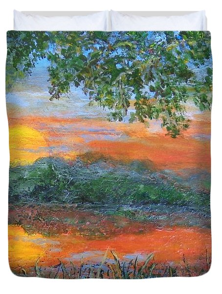 Lakeside Sunset Duvet Cover by Annie St Martin