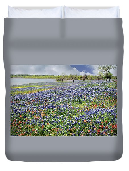 Duvet Cover featuring the photograph Lakeside Texas Bluebonnets by David and Carol Kelly