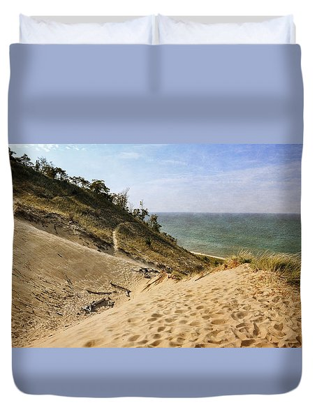 Duvet Cover featuring the photograph Laketown Dune Panorama by Michelle Calkins