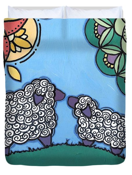 Lamb And Mama Sheep Duvet Cover