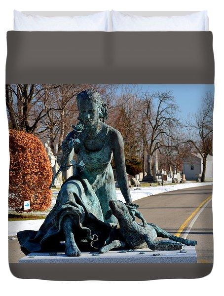 Duvet Cover featuring the photograph lamb and Rose by Richard Ricci