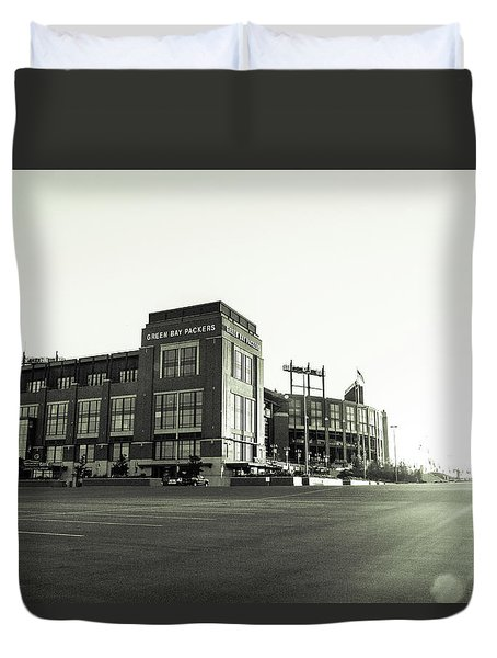 Duvet Cover featuring the photograph Lambeau Field Minimalistic by Joel Witmeyer