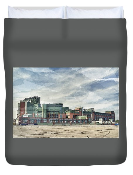 Duvet Cover featuring the photograph Lambeau Field Painterly Edition by Joel Witmeyer