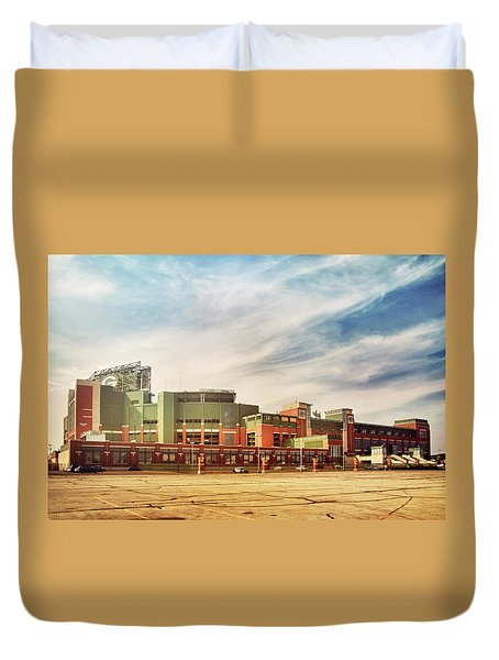 Duvet Cover featuring the photograph Lambeau Field Retro Feel by Joel Witmeyer