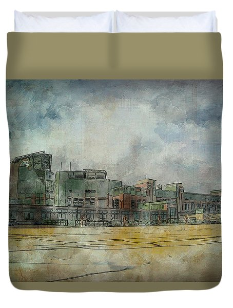 Duvet Cover featuring the photograph Lambeau Field Watercolor by Joel Witmeyer