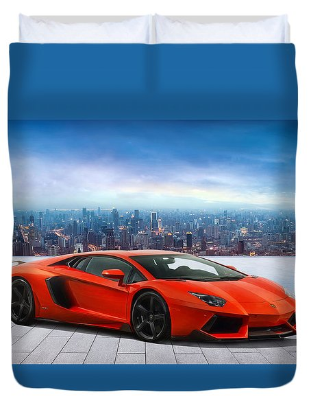 Lambo Cityscape Duvet Cover by Peter Chilelli