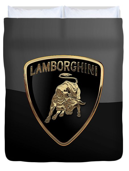 Lamborghini - 3d Badge On Black Duvet Cover