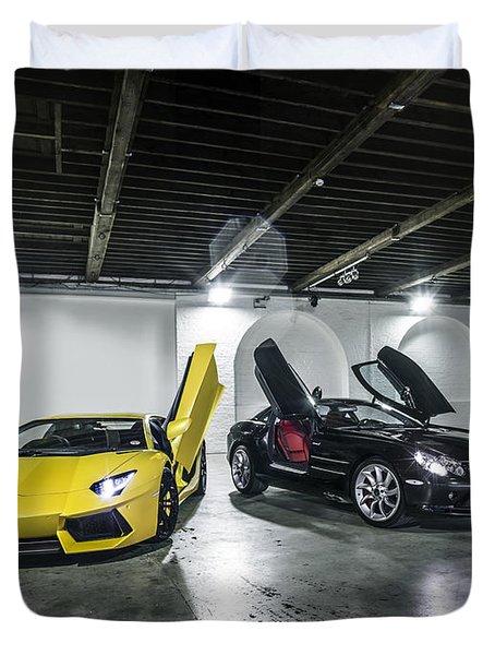 Lamborghini Aventador And Mercedes Slr Duvet Cover