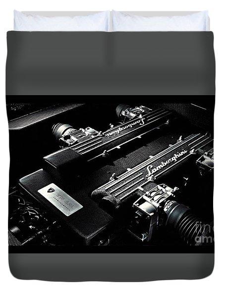 Duvet Cover featuring the digital art Lamborghini Engine by Marvin Blaine