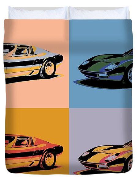 Lamborghini Miura Pop Art Duvet Cover