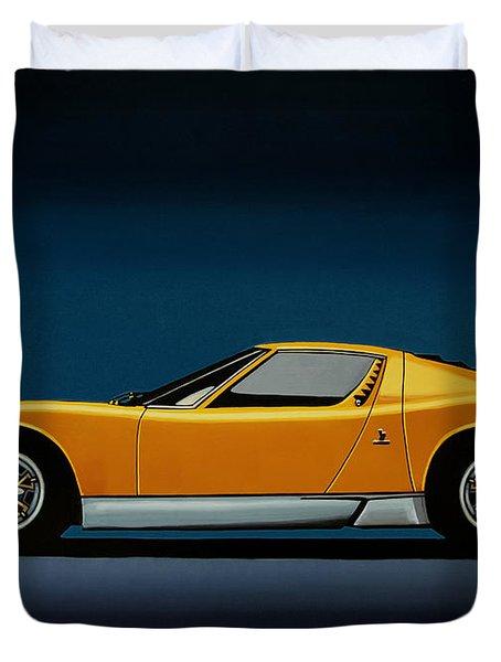 Lamborghini Miura 1966 Painting Duvet Cover